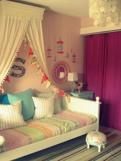 girls daybeds | added the party flags I made for the girls parties , I thought it ...