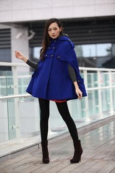 Blue Hoodie Cashmere Coat Double Breasted Hooded Wool Winter Cape Coat Wool Winter Jacket for Women - NC229. $109.99, via Etsy.