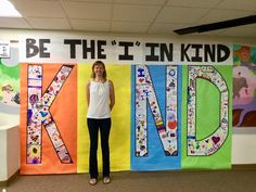 be the 'i' in 'kind'… another one i saw had a spot on the floor for feet Art Classroom, School Classroom, Classroom Themes, Classroom Organization, Holiday Classrooms, Counseling Bulletin Boards, Teacher Bulletin Boards, Elementary Bulletin Boards, School Hallways