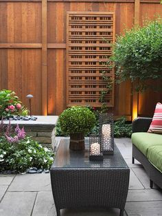 Add privacy with a stylish fence like this one. More landscaping ideas for privacy: http://www.bhg.com/gardening/landscaping-projects/landscape-basics/landscaping-ideas-for-privacy/
