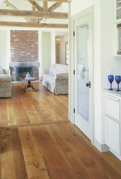 "Oak Wood Flooring and Prefinished Oak Flooring from Carlisle Wide Plank Floors We decided to go with 5"" White Oak - finish TBD; maybe similar to this (amber finish)"