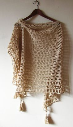 """Designed and hand crocheted with love ♥ and care.  Rustic summer shawl. Textured yarn and handmade tassels enrich its boho look. This shawl is sold and could not be exactly repeated. Make a custom order and I will create something especially for you.   •Material• 50% cotton, 50% rayon. •Color• Natural beige. Can be made in any color by order. Actual color may vary a bit from picture due to computer settings.  •Size• 194 x 98 cm (76"""" x 39""""), can be made any size by order.  ♥ Made to order. ♥…"""