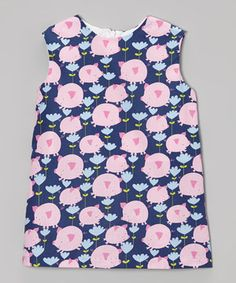 Navy Blue & Pink Pig's Fly Shift Dress - Toddler & Girls by Haley and the Hound #zulily #zulilyfinds