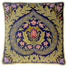 EDEN Blue background Cushion Needlepoint KIT Beth Russell William Morris