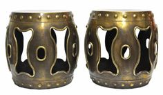 Pair of Vintage Brass Chinese Drum Tables Circa 1970