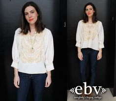 #Vintage #70s #Cream #Embroidered #Hippie #Boho #Tunic #Top S M L by shopEBV, $48.00