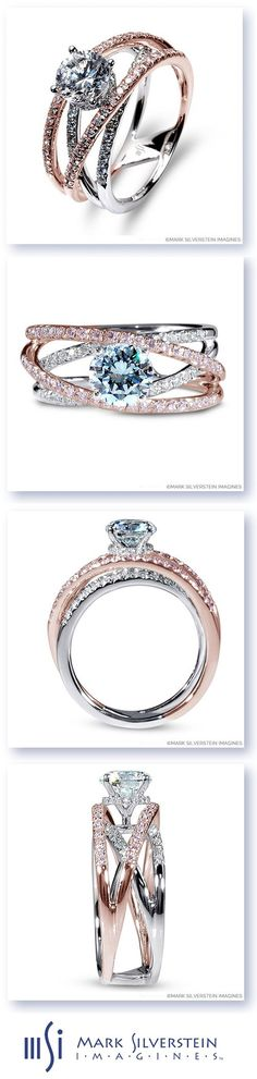 The ethereal grace of this two tone 18K white and rose gold engagement ring is elevated with a halo of diamonds around the center stone.  Pink and white diamond laced strands rise, split, surround, and meet to create a statement piece. Mark Silverstein Imagines Madeira engagement ring