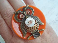 Orange Owl Button Ring by DixiesNightOwl on Etsy, $21.00