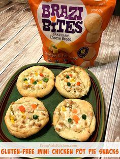Gluten-free mini chicken pot pie snacks recipe with Brazi Bites! Yummy Appetizers, Appetizer Recipes, Snack Recipes, Dinner Recipes, Fried Chicken Recipes, Chicken Pot Pie Recipe Gluten Free, Brazi Bites, Good Food, Yummy Food