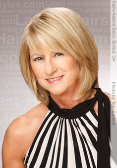 Woman over 50 with a full bodied bob hair