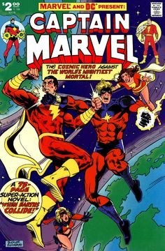 Who's the REAL Captain Marvel? It's Shazam vs. Mar-vell for all the marbles! A mock cover. Marvel Vs, Captain Marvel Shazam, Marvel Comics Superheroes, Marvel Comic Universe, Disney Marvel, Dc Universe, Old Comic Books, Comic Book Characters, Comic Book Heroes