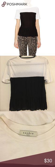 Sandro peplum t shirt Sandro t-shirt with silk peplum detail, fits like a small/ dress size 2 Sandro Tops Blouses