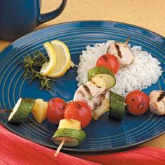 Honey Rosemary Chicken Kabobs for Two Recipe -These tender kabobs are full of savory rosemary flavor, yet they're low in fat and sodium. I found the original recipe in a magazine, then adjusted it to suit our tastes. —Elisabeth Corcimiglia Byron, New York