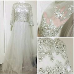 """breathtaking silver dress princess scoop neckline, sheer lace sleeves and yoke, beaded appliques with sequins and a flowy A-line tulle skirt, GREAT condition! Brand: JJ's House. Size: unknown (B:19"""" W:16"""" L:63"""") - #1088 retail: $215-300 + ship ●  Dresses"""