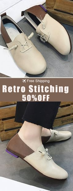 480c0db093 New Arrival 50%off. Retro Stitching Casual Comfortable Flats Shoes For  Women. Shop