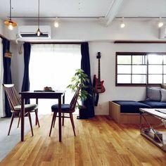 shimizuyoukoさんの、観葉植物,シンプル,植物のある暮らし,古材,リノベーション,アンティーク,マンション,モルタル,リビング,のお部屋写真