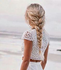 blonde french braid beach