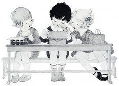 school lunch box, free vintage image, vintage clipart children, children eating lunch, black and white sketch boy girl, free vintage printab...