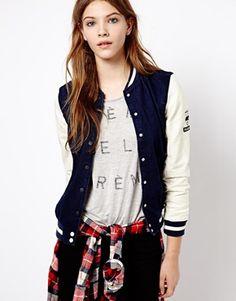 Pull&Bear Baseball Jacket With Leather Look Sleeve