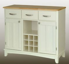 Large Wood Server Kitchen Island / Server with Wine Rack traditional kitchen islands and kitchen carts