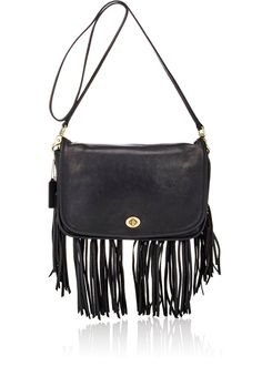 ebbc99a5e36a Black Leather Fringed Large Dinky Bag Coach Purses