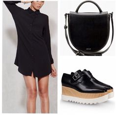 Sleek, chic vegan fall fashion at its finest...Reformation dress/Matt and Nat crossbody/Stella McCartney platforms