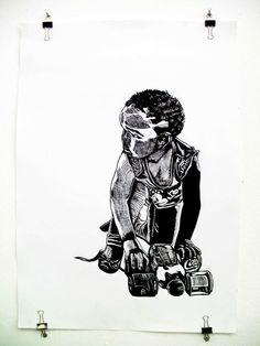2013. linocut. My Childhood, Objects, Africa, Darth Vader, Creative, Fictional Characters, Afro