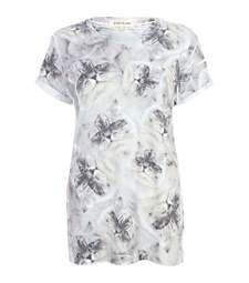 Grey cat print oversized t-shirt £7.00