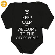 Keep Calm And Welcome To The City Of Bones Baby Romper Long Sleeve Bodysuit Medium - Baby bodys baby einteiler baby stampler (*Partner-Link)