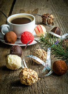 Luxury chocolate candies and cup of coffee Stock Photo by Al