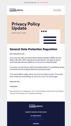 Subject Line from Codecademy: Update to our Privacy Policy