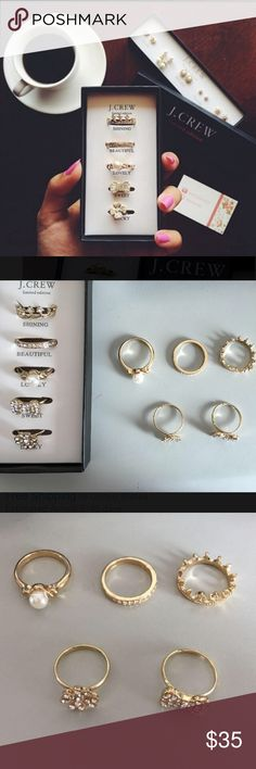 ✨Limited Edition J. Crew Gold Rings✨ Gorgeous gold J. Crew rings are perfect for any style or day of the week.  Comes in the original J. Crew box shown The top three rings fit like a 6 or 7, while the other two are adjustable!  Ships within 24 hrs ✈️ J. Crew Jewelry Rings