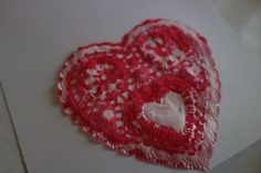 egg juice with pepperoni: Valentine doily print cards