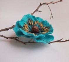 Turquoise flower brooch-Turquoise flower от YuliasFeltworld