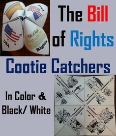 These cootie catchers/ fortune tellers are a great way for students to have fun while learning about the Bill of Rights. How to Play and Assembly Instructions are included.These Cootie Catchers contain all 10 Amendments in the Bill of Rights: Students must identify the amendment based from the description.