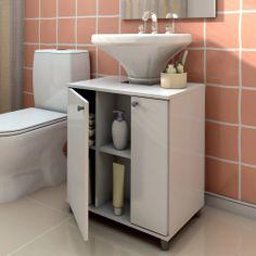 Gabinete para Banheiro Politorno com 2 Portas - Branco - Balcões no CasasBahia.com.br