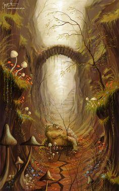 illustration, animal, frog, floral, lighting, bridge, woodland, fern, moss, landscape. The Mushroom Road