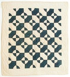 Mill Wheel crib quilt, c. 1890, navy and white with nice positive / negative effect, 29 x 32.5