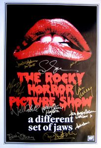 ROCKY HORROR PICTURE SHOW 27x40 movie poster cast signed by Tim Curry, Susan Sarandon, Meatloaf, Barry Bostwick, Ruchard O'Brien, Patricia Quinn, Nell Campbell, Sadie Corre, Peter Hinwood, Imogen Claire & Jonathan Admans.