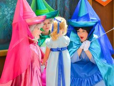 Wendy from Peter Pan and the good fairies: Flora, Fauna and Merryweather from Sleeping Beauty.