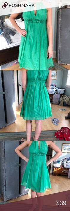 Easley emerald green halter top dress. Gorgeous color.  Jeweled detail below breast line.  Gently used and in fair condition. Fully lined. easley Dresses Mini