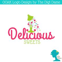 OOAK Premade Logo Design: Candy Sweets in Lolly Jar in by digidame