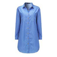 be727a5560e1 ZANZEA Women Denim Dress 2018 Autumn Casual Loose Long Sleeve Button Shirt  Dresses Mini Vestidos Long