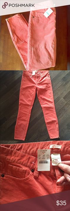 🆕 J.Crew Toothpick Corduroy Pants Sz 25 NWT Coral Brand new with tags! All of my items are triple cross posted for fast sales! Thank you for looking! Zipper ends! J. Crew Pants Skinny
