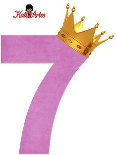 Alfabetos de Números Violeta Claro con Coronas.