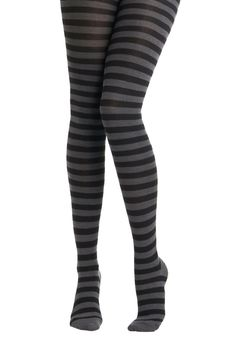 I Really Mean Knit Tights by Tabbisocks - Black, Grey, Stripes, Party, Casual, Winter, Steampunk