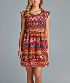 Red & Yellow Geometric Cap-Sleeve Dress
