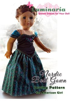 "Doll Clothes Pattern in PDF To Make Nordic Ball Gown, Dress, Outfit, Clothes. Fits 18"" American Girl by Luminaria"