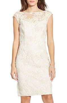Lauren Ralph Lauren Embroidered Mesh Sheath Dress (Regular & Petite) available at #Nordstrom