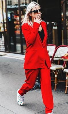 All eyes on this red suit.